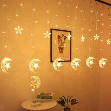 EID Mubarak-decoración para el hogar, Luna, estrella, LED, cadena de luces para cortina, guirnalda, islámico, musulmán, fiesta Al Adha, Ramadán, decoración de Navidad
