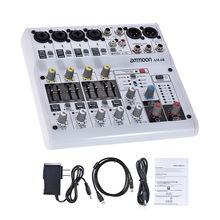 ammoon 6-Channel Audio Mixer Digital Mixing Console Built-in 48V Phantom Power Powered by 5V Power Bank with Adapter USB Cables
