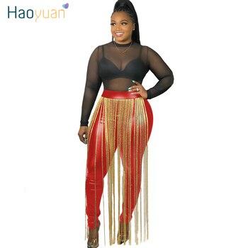 HAOYUAN de talla grande Fringe PU pantalones de cuero mujer cintura elástica Skinny moda Otoño Invierno Club rave pantalones largos de cintura alta