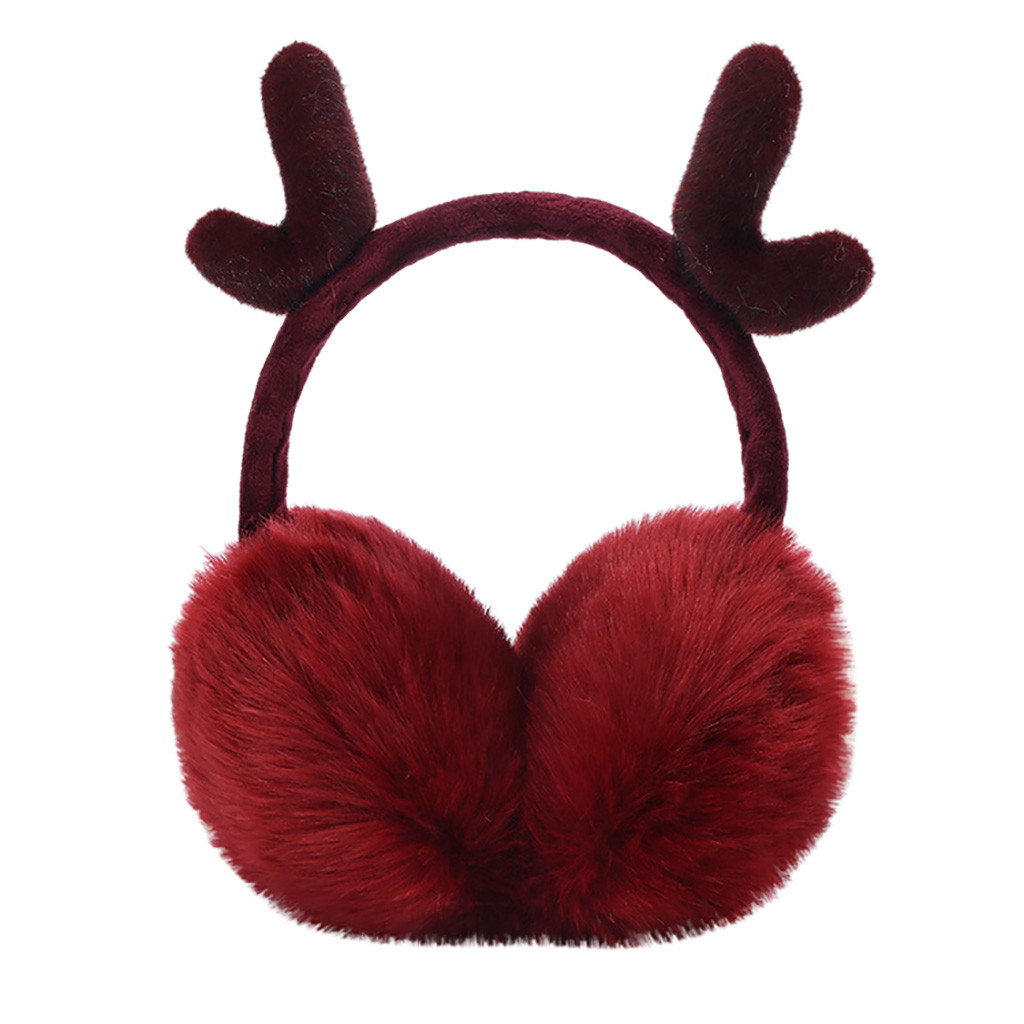 Unisex Winter Fur Headphones Warm Earmuffs меховые теплые наушники Oorwarmers Cute Plush Antlers Adjustable Ears Warmers #4