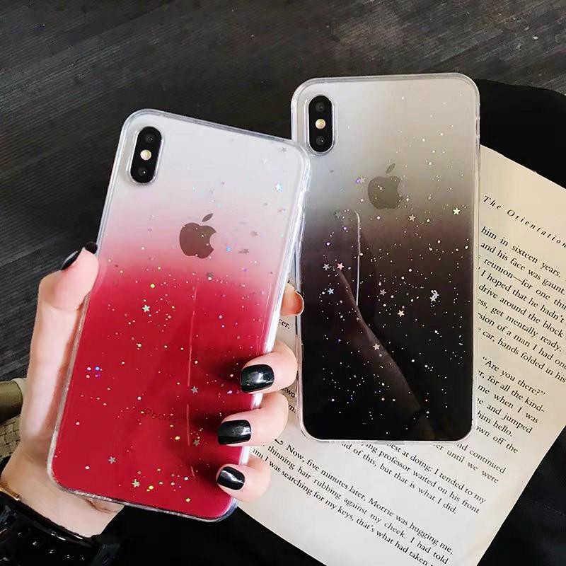 Dégradé Brillant Étoile À Paillettes Bling Clair coque de téléphone Pour iphone 11 Pro XS Max XR X 6 6s 7 8 Plus Doux TPU Couverture Arrière ...