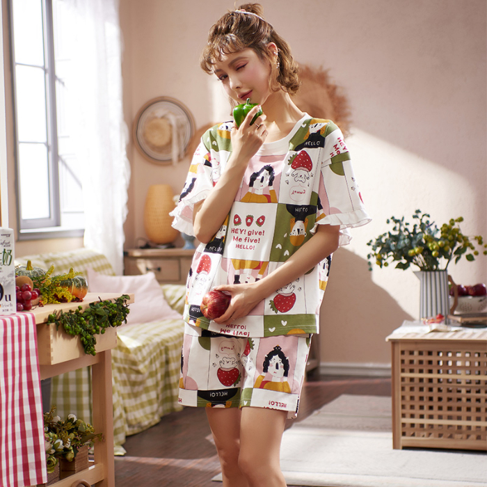2020 New Women Pajamas Sets Female Korean Cartoon Short Sleeved Summer Leisure Suit Woman Cute Cotton Home Furnishing Clothing