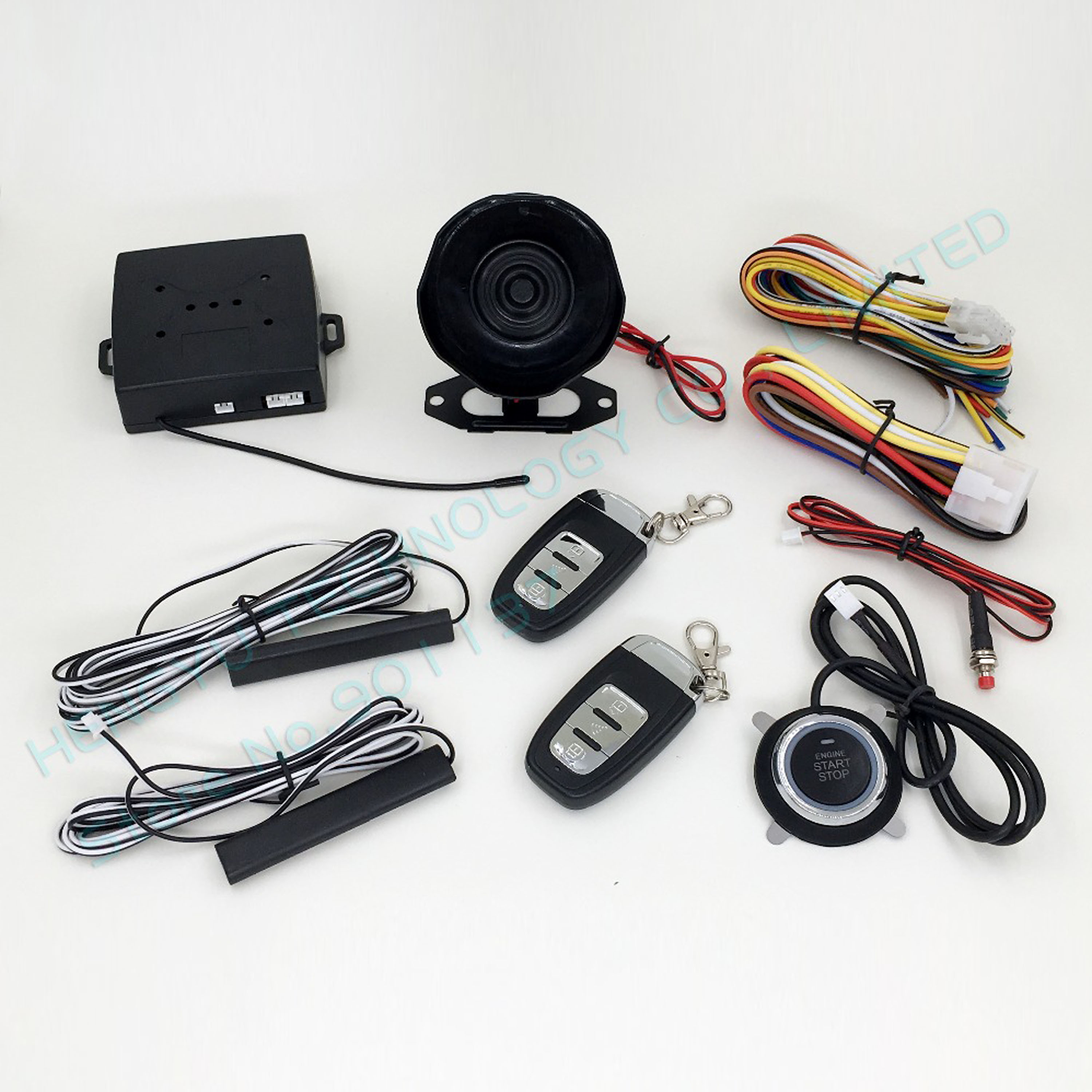 PKE car alarm push button start stop button passive keyless entry remote engine start auto lock