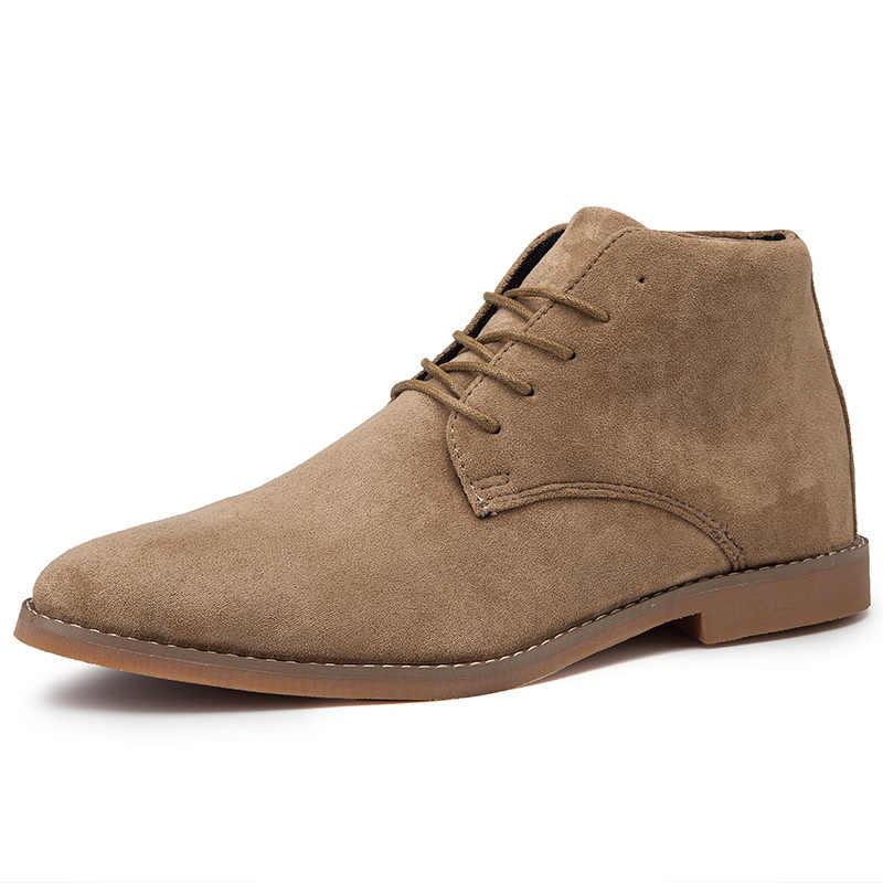 Erkek Chelsea Boots, batı moda yarım çizmeler Lace up siyah Brogues süet deri rahat ayakkabılar Martin çizmeler 2019 ilkbahar/sonbahar