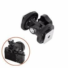 Meking dönebilen çift sıcak ayakkabı adaptörü braketi tutucu dağı için LED Video ışığı DSLR kamera Hotshoe adaptörü açı ayarlanabilir