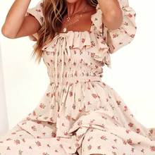 Vestido de inspiración Bohemia francés de Picnic Midi para mujer vestido Floral elástico fruncido de verano 2020 volante vestido con mangas puff elegantes bohemios