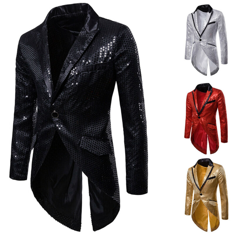 Goocheer 2019 Men NightClub Stage performances singer Tuxedo Blazer Shiny Gold Silver Sequins Slim Glitter Blazers Suit Jacket in Blazers from Men 39 s Clothing