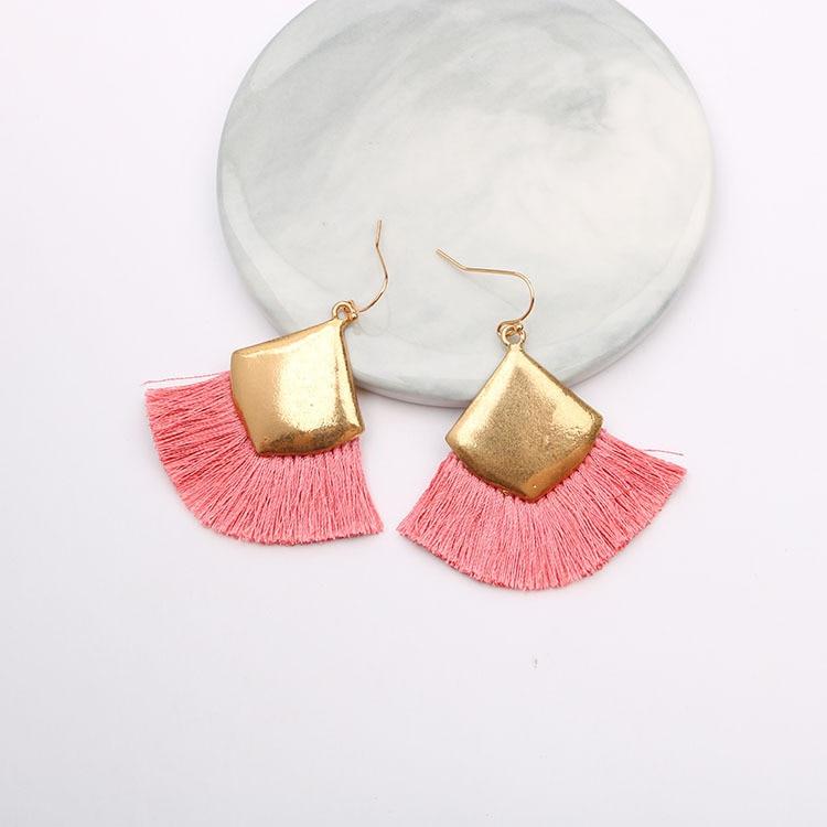 Charme Frauen Platz Fringe Quaste Ohrringe für Frauen Hängenden Tropfen Baumeln Gold Ohrringe Bobo Schmuck Aretes De Mujer Brinco 2019
