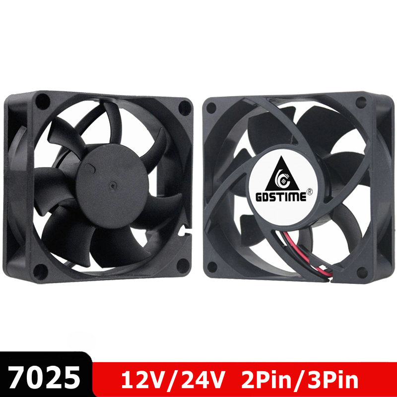 2 шт./лот Gdstime 70 мм 7 см 7025 DC 12 В 24 В 2 контакта 3 контакта кулер для процессора компьютера охлаждающий вентилятор 70x70x25 мм