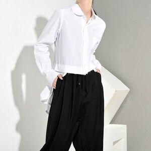 Image 5 - [EAM] Women White Back Long Pleated Asymmetrical Blouse New Lapel Long Sleeve Loose Fit Shirt Fashion Spring Autumn 2020 JR3900