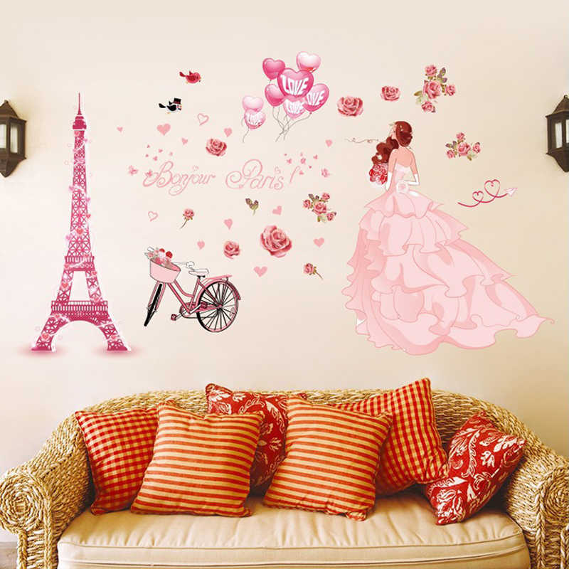 Diy Romantic Pink Wedding Girl Wall Stickers Paris Tower Balloon Rose Fower Princess Bedroom Room Decoration Decals Aliexpress