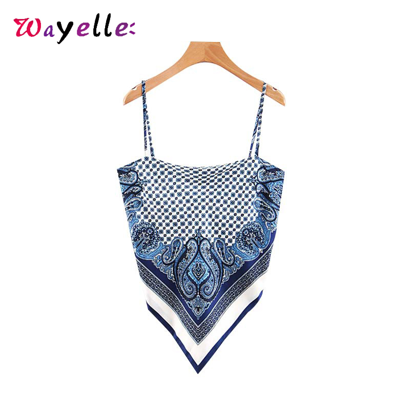 Women Sexy Tank Top Back Bow Tie Paisley Print Camis Tops for Spaghetti Straps Sleeveless Female Casual Chic