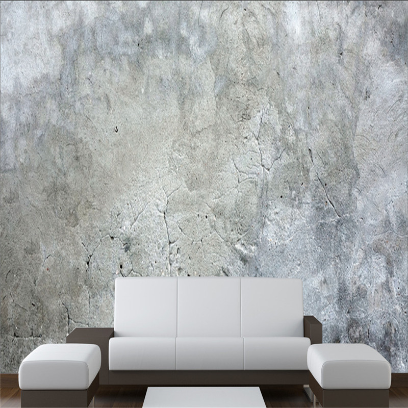 Custom Size To Meet Various Needs Retro Gray Cement Wall Mural Wallpaper For Living Room Studio Industrial Decor Wall Paper 3D