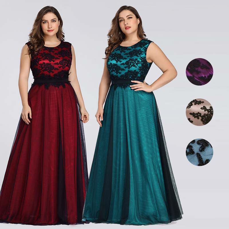 Elegant Evening Dresses Long Queen Abby A-line Scoop Sleeveless Lace Appliques Evening Gowns For Party Plus Size 2020