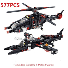 577PCS Special Forces Figures Toys Building Blocks Military Deformable Raid Helicopter Blocks Compatible  Bricks Toys For Child