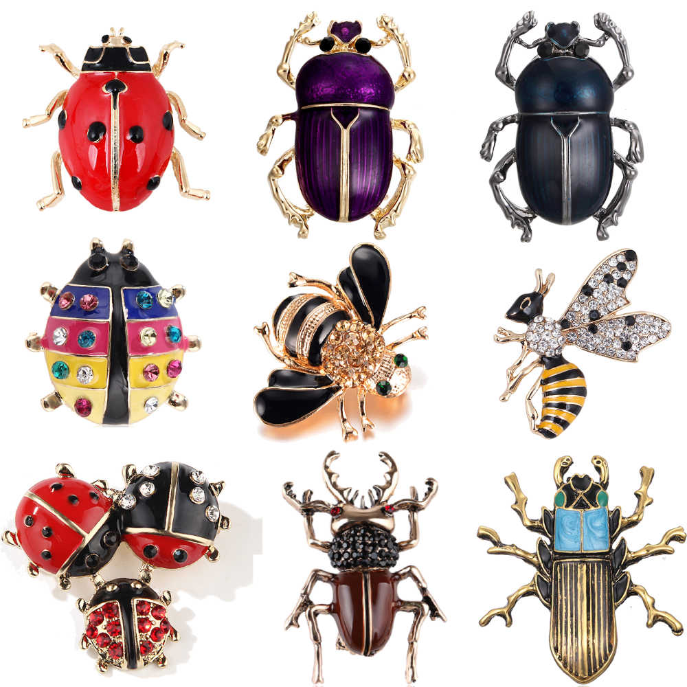 Crystal Vintage Bee ladybird Brooches for Women Large Insect Brooch Pin Fashion Dress Coat Accessories Cute Jewelry