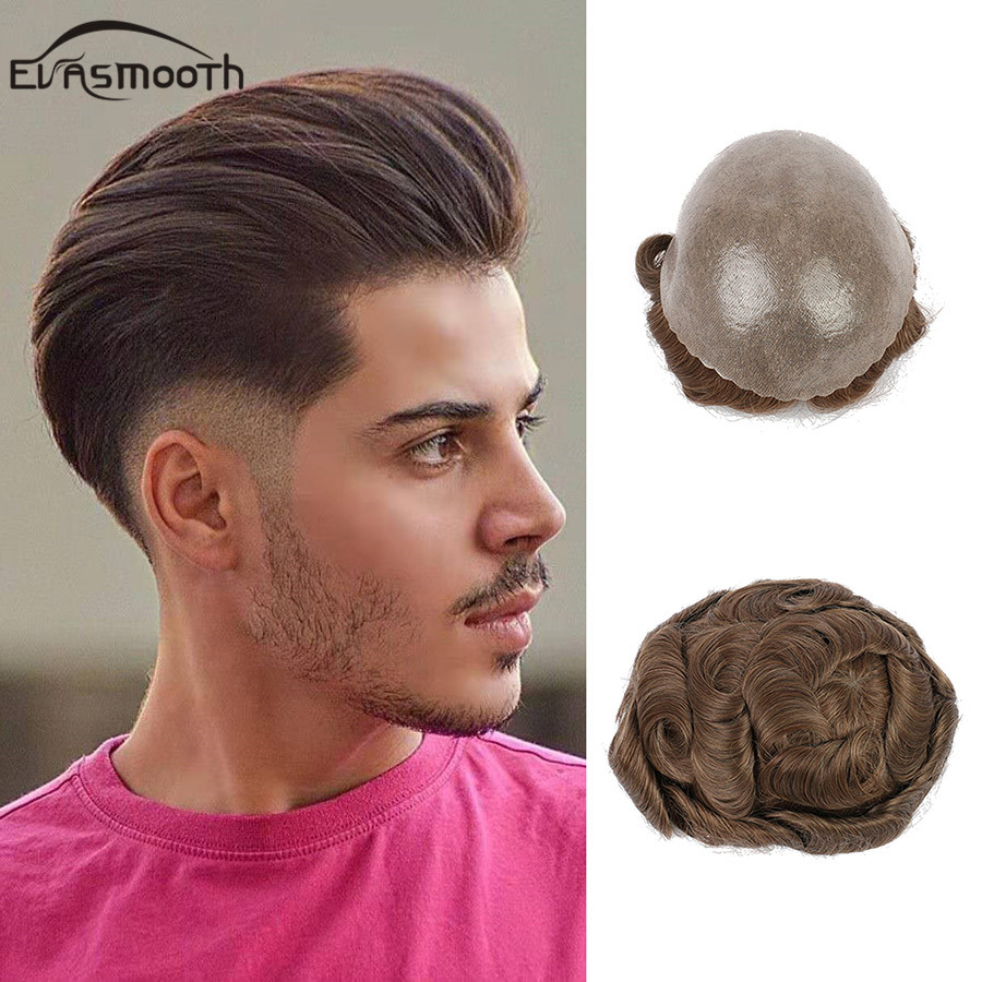 Thin Skin Wig Human Hair Toupee Men Hairpiece Transparent Full Pu Wig Male Replacement System Men Toupee Human Indian Hair Wigs
