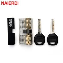 NAIERDI Transparent Locks Combination Practice Locksmith Training Skill Tools Visible Practice Padlock Pick Sets Hardware