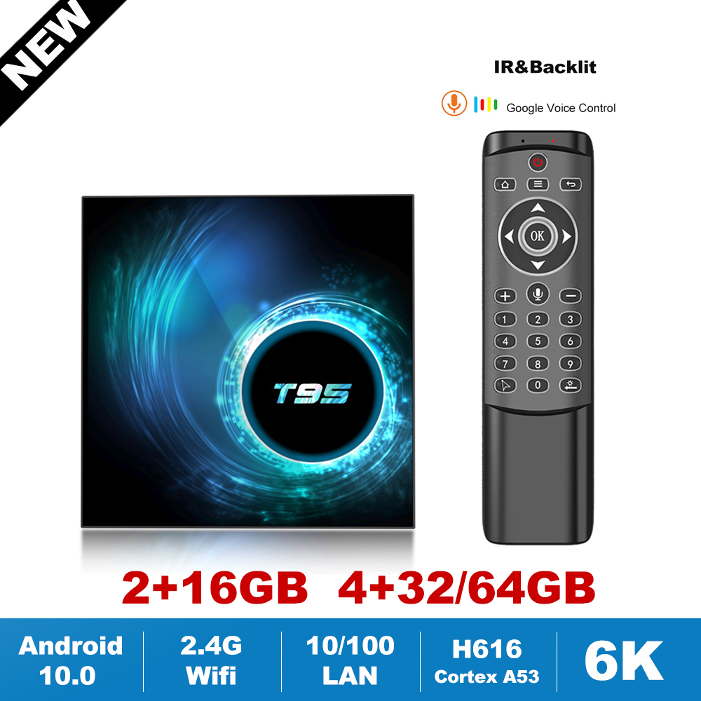 New T95 H616 Quad Core TV Box Android 10 2 4G Wifi 6K HDR Google Voice Assistant Netflix 2GB 4GB Set Top Box Media TV Receiver