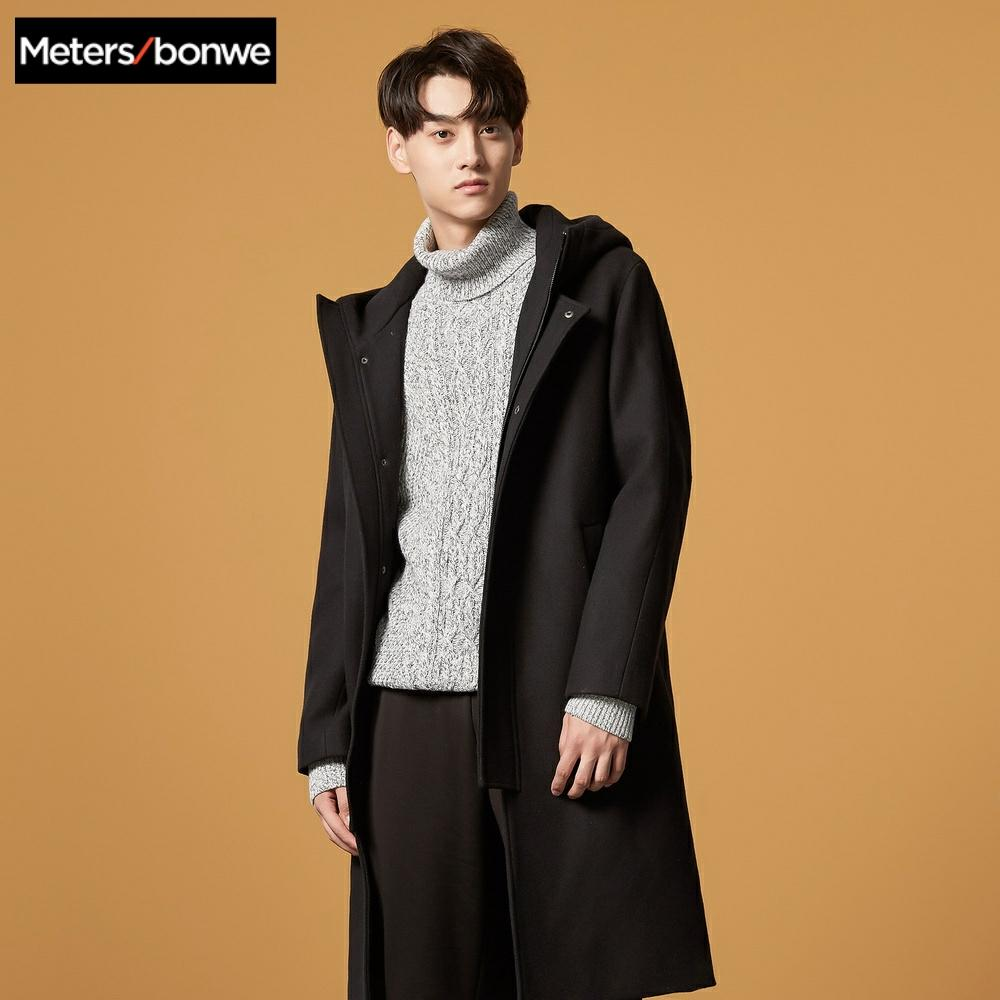 Metersbonwe Wool Coat Men Thick Overcoats Topcoat Mens Keep warm Coats Hooded fashion Jackets