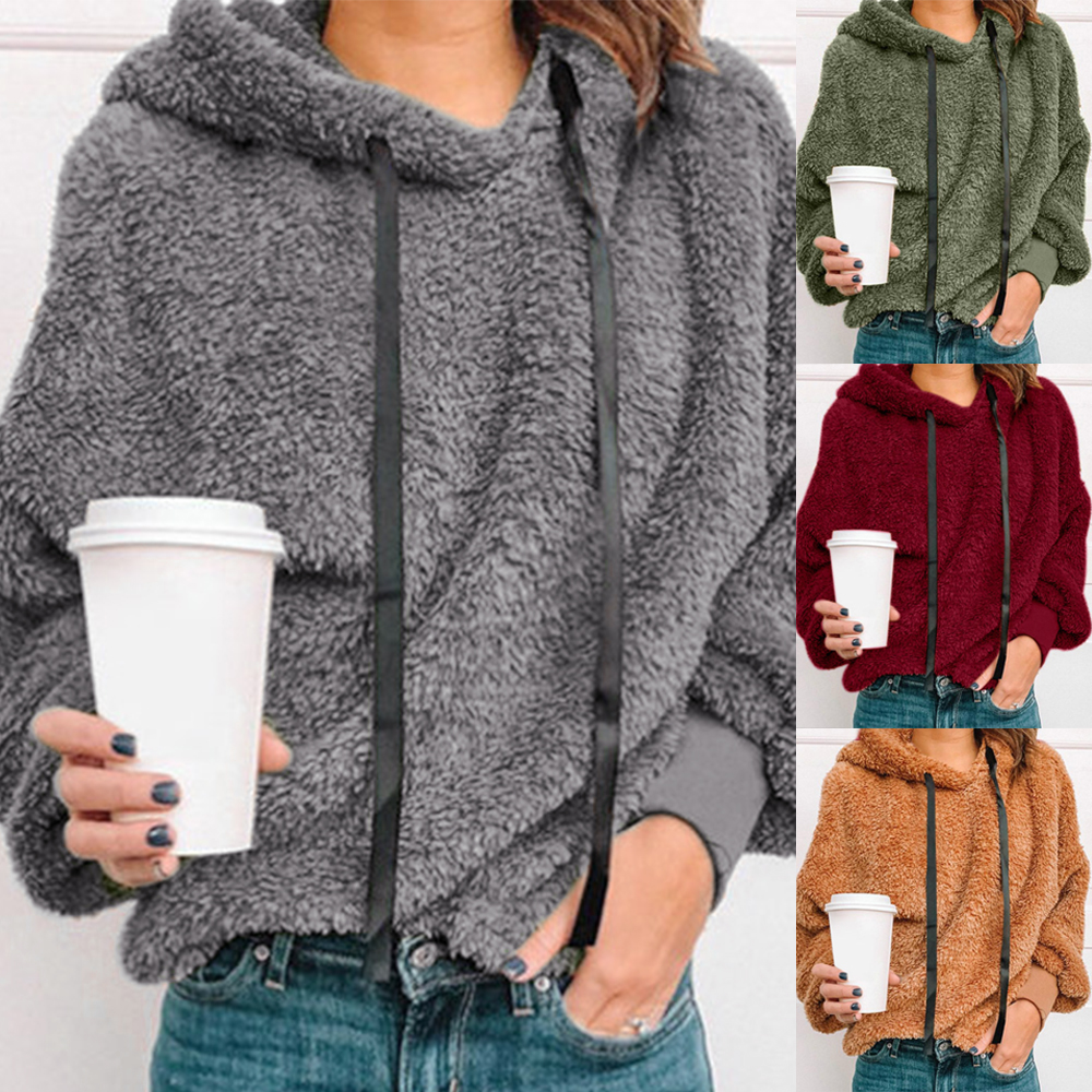 Plus Size 5XL Autumn Women Casual Pullovers New Faux Fur Fluffy Hoodies Teddy Coat Drawstring Sweatshirt Sudadera Top Clothes