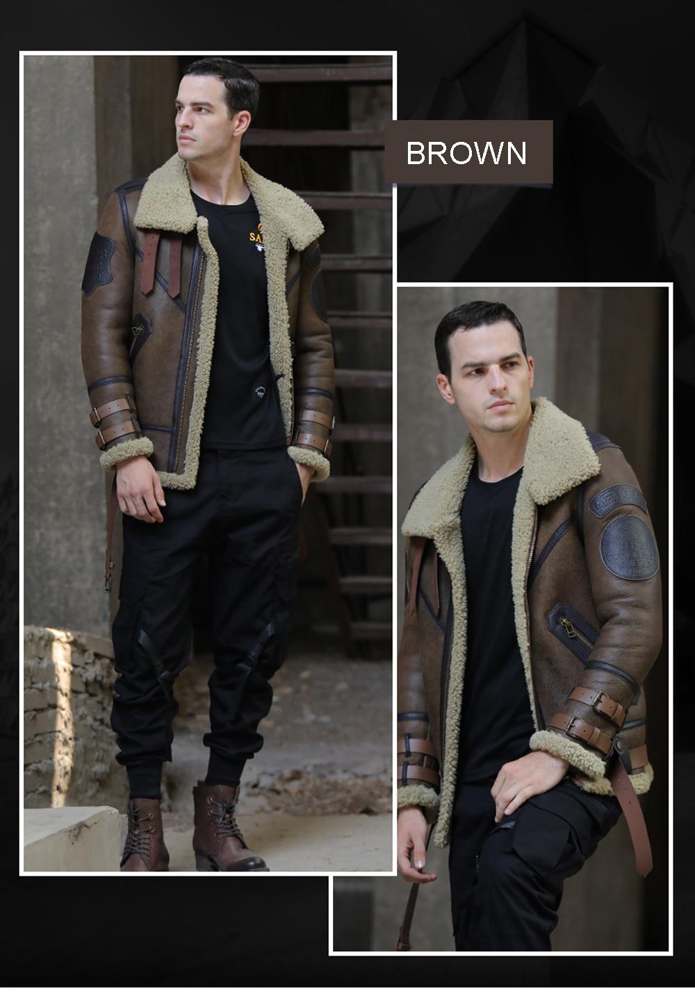 H8ded99d27df44e6b9dbf80cee7b56dabh 2019 Fashion 100% Quality Real Sheepskin Fur Men Coat Genuine Full Pelt Sheep Shearling Male Winter Jacket Brown Men Fur Outwear