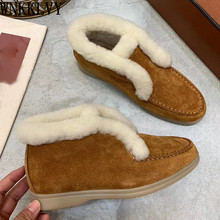 Snow-Boots Ankle-Botas Flat-Shoes High-Top Comfort Winter Women Wool Fur Round-Toe Suede-Fur-Collar