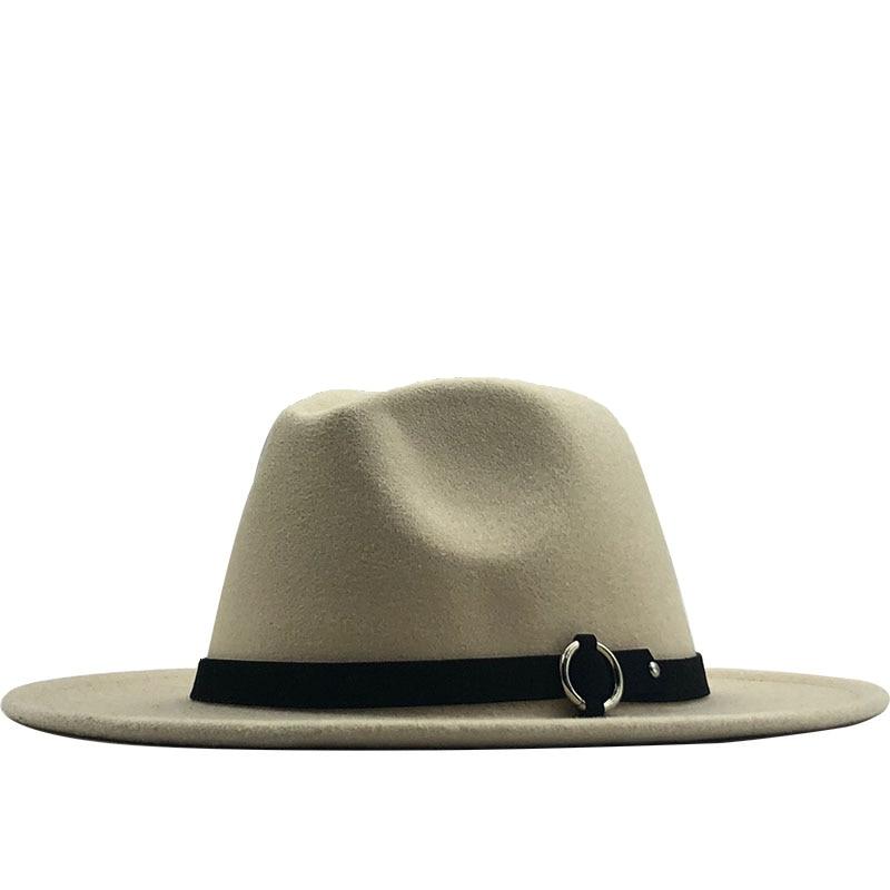 Womens Classic Wide Brim Wool Fedora Hat Belt Buckle Trilby Hat Vintage Sombrero Jazz Cap