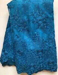 Image 3 - Afrika boncuklu dantel kumaş işlemeli nijeryalı danteller kumaş 2020 yüksek kaliteli şeftali fransız tül dantel kumaş kadınlar için HLL4807