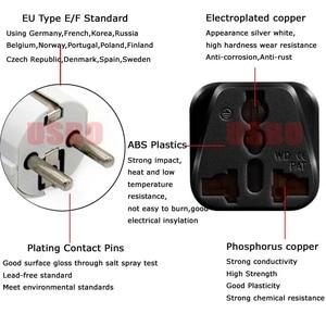 Image 3 - สีขาวสีดำทองแดง 2in1 UK UK EU Universal เยอรมนีฝรั่งเศสอินโดนีเซียเกาหลีใต้รัสเซีย SCHUKO ปลั๊กอะแดปเตอร์ type E/F