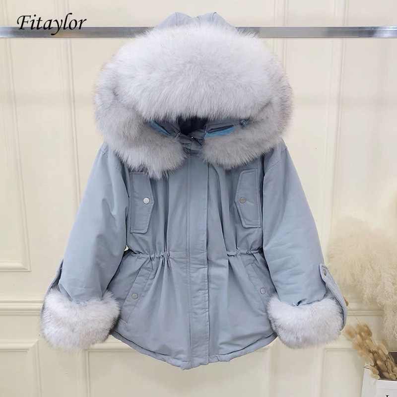 Fitaylor Real Natural Fox Fur Winter Jacket Women White Duck   Down   Jacket Thick Warm Female Winter   Coat   Women Hooded   Down   Parka