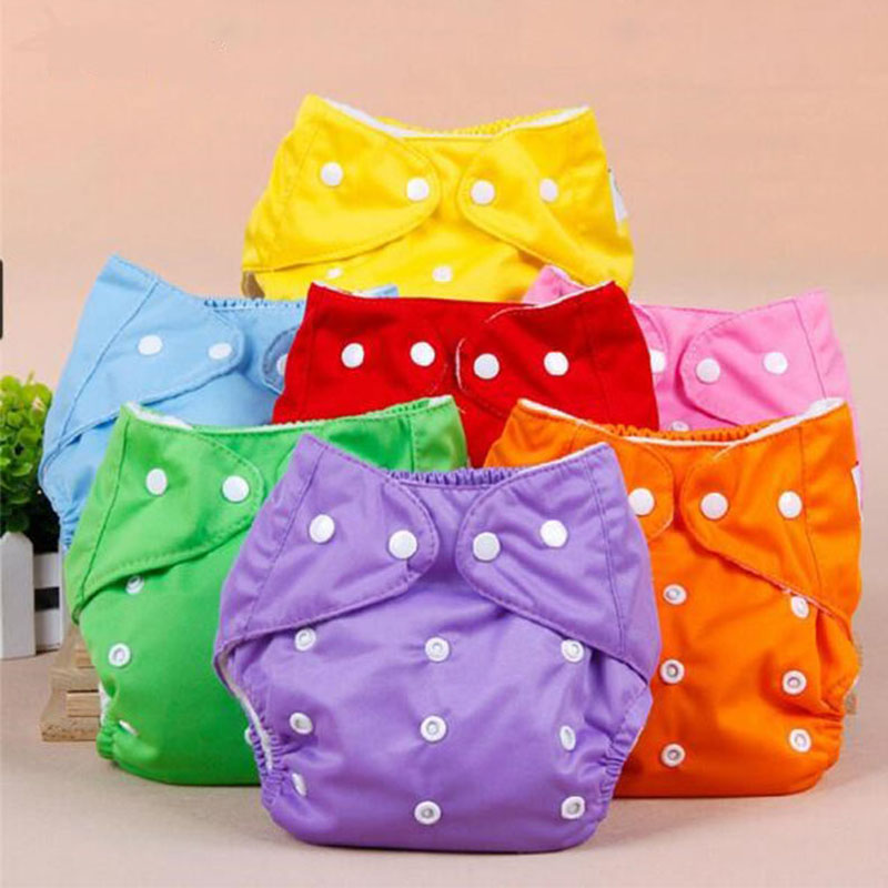 1PC Baby Diapers Children Cloth Diaper Reusable Nappies Grid Diaper Cover Washable Fraldas Adjustable  For Size S M L