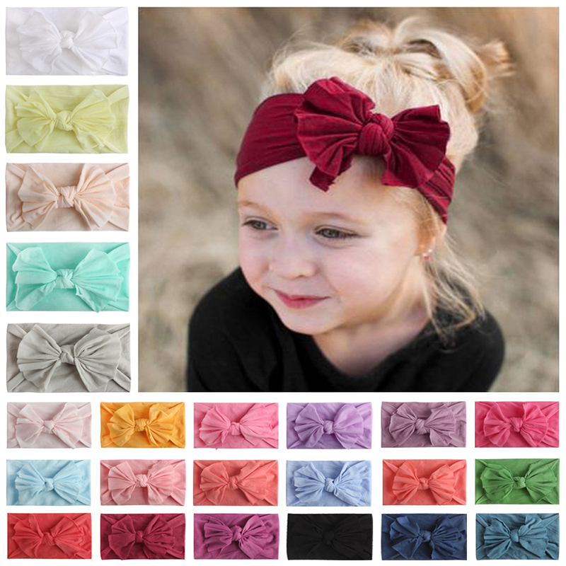 23 Colors Baby Headband Turban Knotted Small Side Flower Combination Flower Hair Band For Newborn Toddler Children Baby Turban