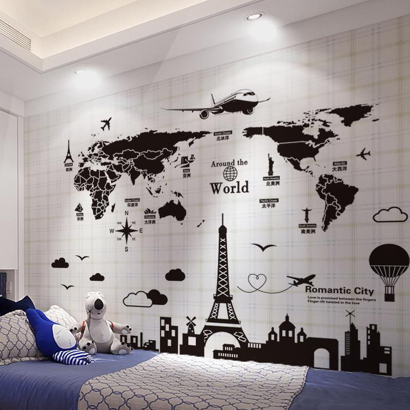 Large Cartoon Wall Sticker Decal World Map For House Living Room Decoration Stickers Bedroom Decor Wallstickers Wallpaper Mural