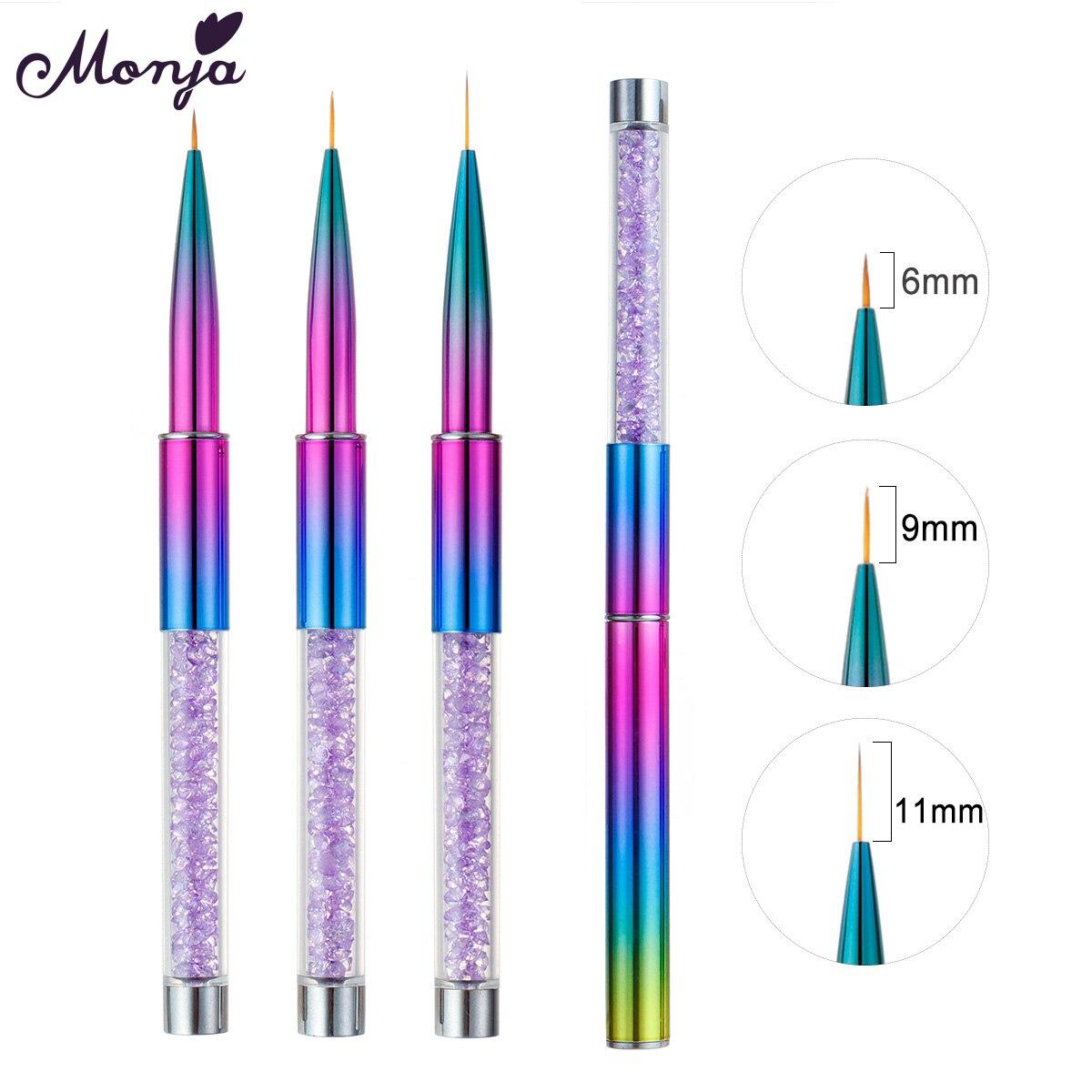 Monja 3 шт./компл. Стразы с красочными ручками для дизайна ногтей подводка для рисования французская кисть в полоску цветок DIY ручка для рисован...