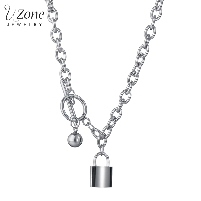 Uzone Noble Stailess Steel Padlock Pendant Necklace Interlocking Layered Chain Necklaces For Women Men Couple Jewelry Party Gift