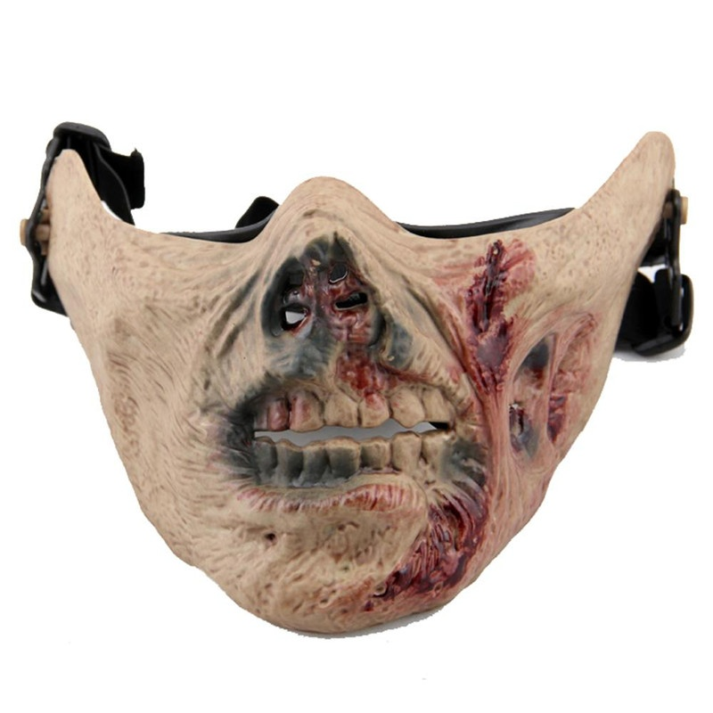 Zombie Skull Tactical Paintball Masks Half Face Military Army Wargame Hunting Horror Scary Cosplay Halloween Party Airsoft Mask