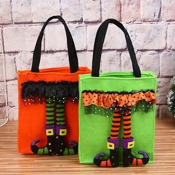 Divertente Regalo di Halloween Borse Carino Strega Bambola Sacchetto di Caramelle Creativo Trick Or Treat Bag Goodie Titolare di Stoccaggio per I Bambini