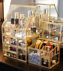 Прозрачный ящик Органайзер для макияжа стеклянный Настольный отделочный уход за кожей полка для салфеток ювелирные изделия ожерелье кольц...