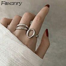 Foxanry – bagues Vintage Punk en argent Sterling 925 pour femmes, nouvelle mode géométrique creuse créative, bijoux cadeaux pour fête d'anniversaire