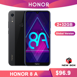 HONOR 8A Smartphone 6.09 inch MT6765 Octa Core Global ROM Android 9.0 face unlock 3020mAh Mobile Phone