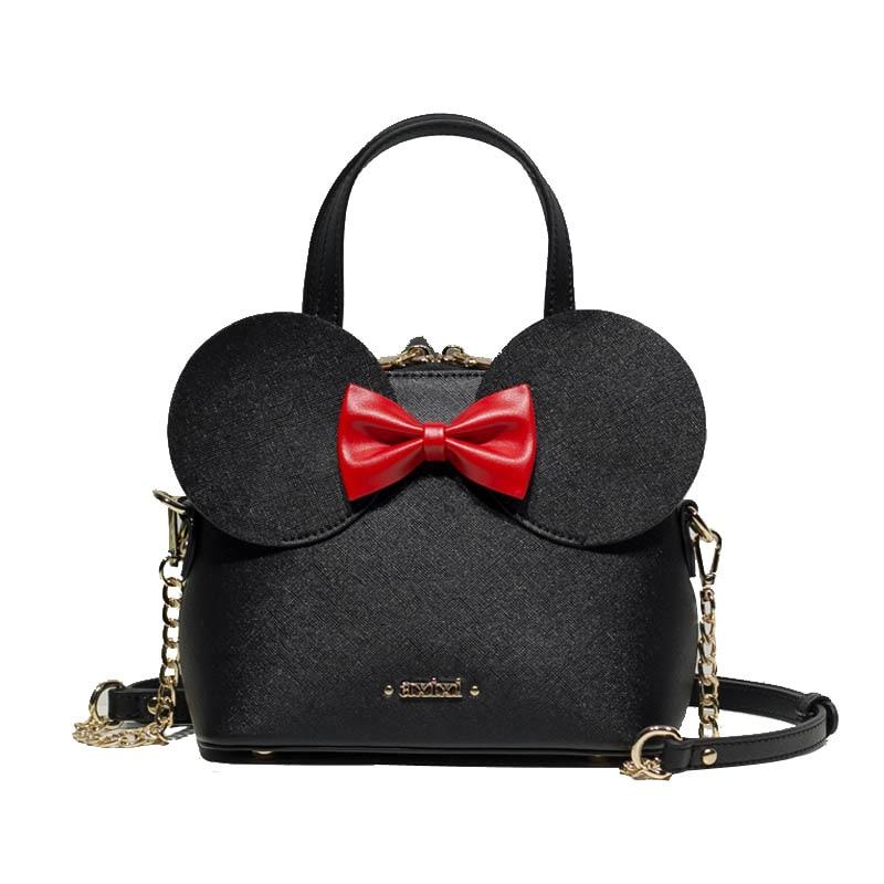 Disney Mickey Mouse Minnie New Casual Fashion pu Bag Shoulder Lady Outdoor Messenger Girl Cartoon Bag Travel Cute Handbag gift