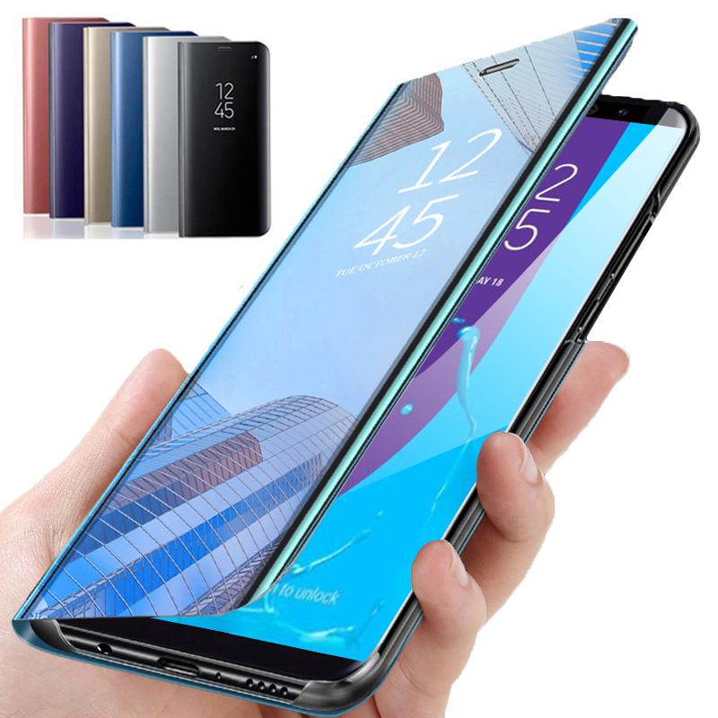 Smart Mirror <font><b>Flip</b></font> Phone <font><b>Case</b></font> For <font><b>Samsung</b></font> <font><b>Galaxy</b></font> J6 Plus <font><b>2018</b></font> J6Plus <font><b>Case</b></font> Back Cover For <font><b>Samsung</b></font> A6 <font><b>A7</b></font> <font><b>2018</b></font> A5 2017 A6Plus A8Plus image
