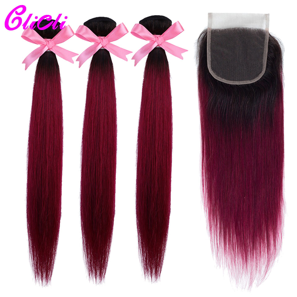 1B Burgundy Ombre Indian Hair Bundles With Closure Straight Human Hair Weave Extension Bundles With 4x4 Lace Closure Nonremy
