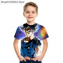 2021 novo tema bola de dragão topo da moda dos desenhos animados anime legal t camisa verão menino menina anime 3d t camisa menino roupas de rua