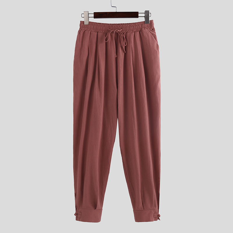 UUYUK Men Embroidery Cotton Linen Chinese Style Casual Jogger Pants Trousers