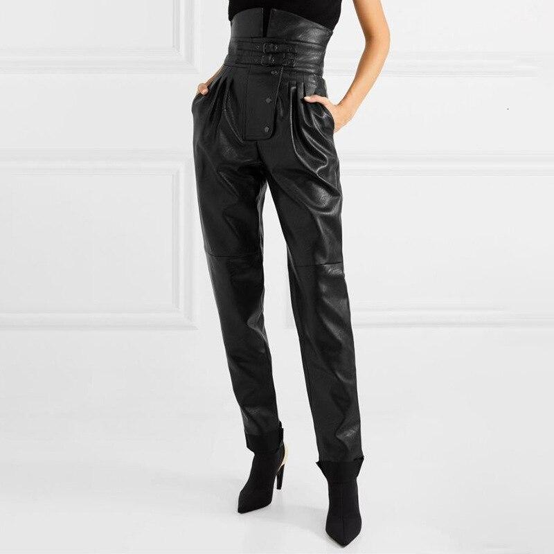 Femmes en cuir pantalon taille haute automne hiver Abdomen crayon sarouel pantalon femmes nouvelle haute rue