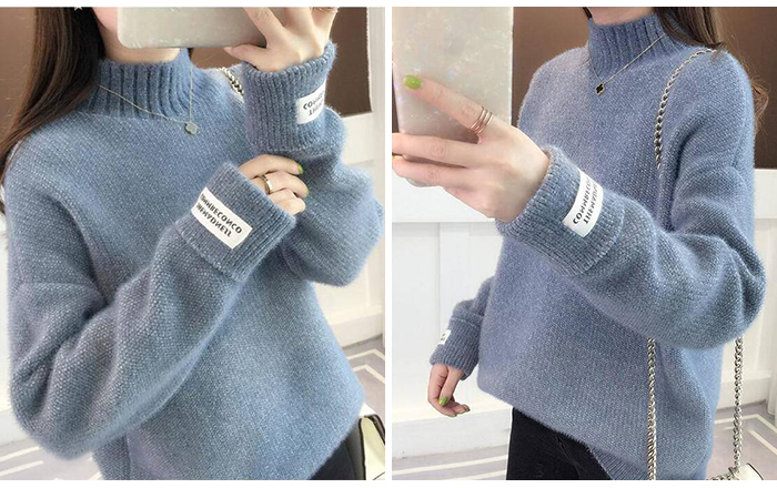 SURMIITRO Knitted Warm Sweater Female For Autumn winter 19 Ladies Long Sleeve Women Turtleneck Tricot Pullover Blue Jumper 10