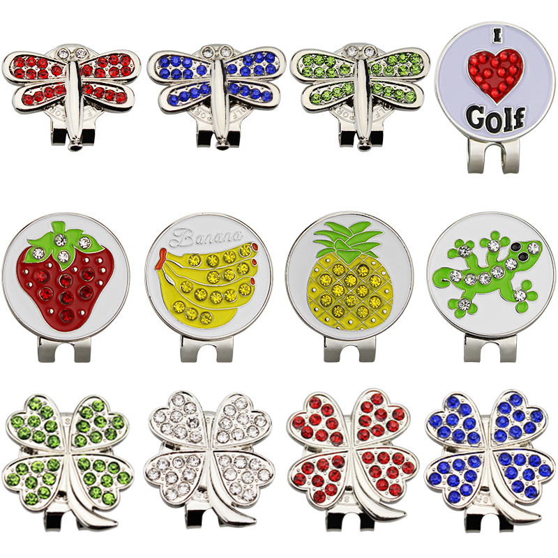 Bling Diamond Golf Markers plus Magnetic Alloy Golf Cap Hat Clip Multi Colors  Golf Training Aids for Golf Fans
