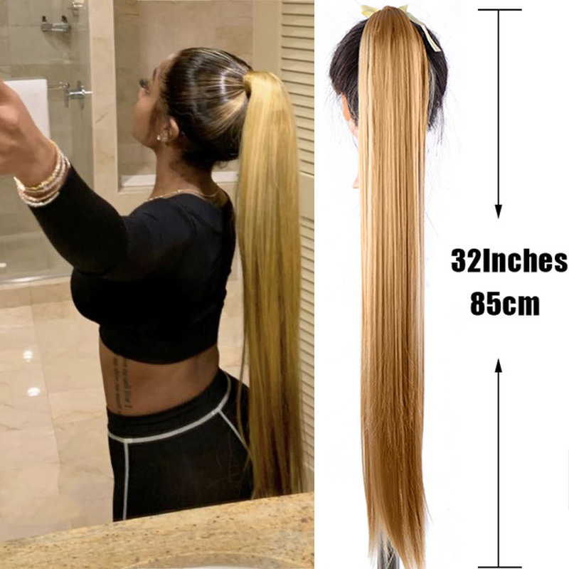 JINKAILI Ponytail Hairpiece Extensions False-Hair Clip-In Synthetic Straight Super-Long